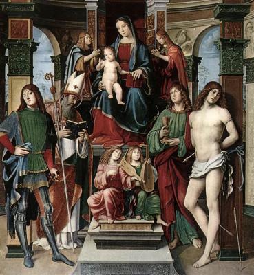 Франческо Франча. Мадонна с младенцем и святыми