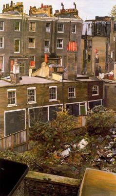 Lucien Freud. Wasteland with houses, Paddington