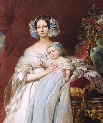 Franz Xaver Winterhalter. Helene Louise Elizabeth de Mecklenburg Schwerin, Duchess of Orleans and her son the count of Paris. Fragment