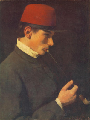 Pál Szinyei Merse. Man smoking a chubuk. Portrait of Sigmund Signie-Mersch, brother of the artist