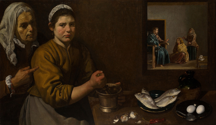 Diego Velazquez. Christ in the house of Mary and Martha