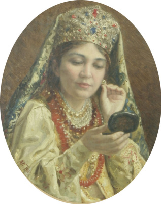 Vladimir Egorovich Makovsky. The girl looking in the mirror