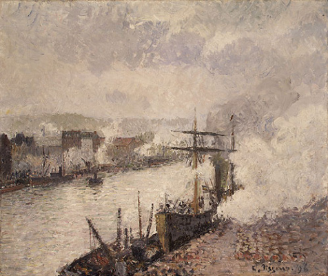 Camille Pissarro. Ships in the port of Rouen