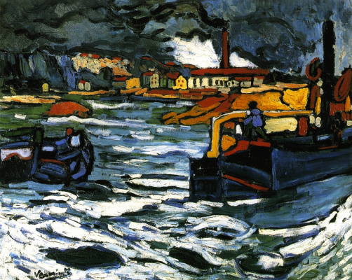 Maurice de Vlaminck. Barges on the Seine