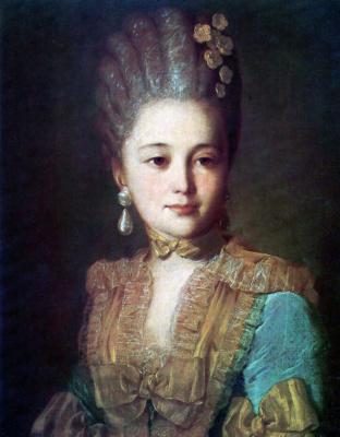 Федор Степанович Рокотов. Портрет неизвестной в голубом платье с желтой отделкой