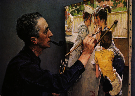 "Norman Rockwell. Norman Rockwell, writing ""Youth cafe"""
