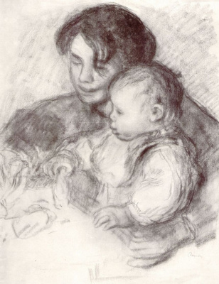 Pierre-Auguste Renoir. A girl with a child (Jean and Gabrielle)