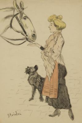 Теофиль-Александр Стейнлен. Женщина, угощающая лошадь, и собака