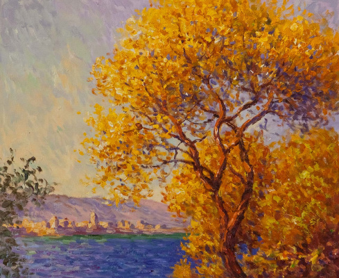 Savely Kamsky. Antibes, a view from the Salis gardens, 1888, a copy of the painting by Claude Monet