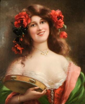 Emile Vernon. Girl with a tambourine.