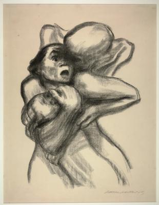 Käthe Kollwitz. Death grabbing mother