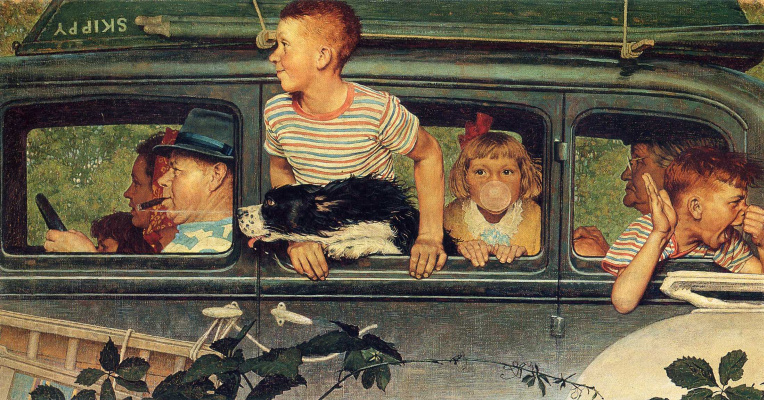Norman Rockwell. On vacation with the whole family