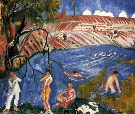 Mikhail Larionov. Bathing soldiers