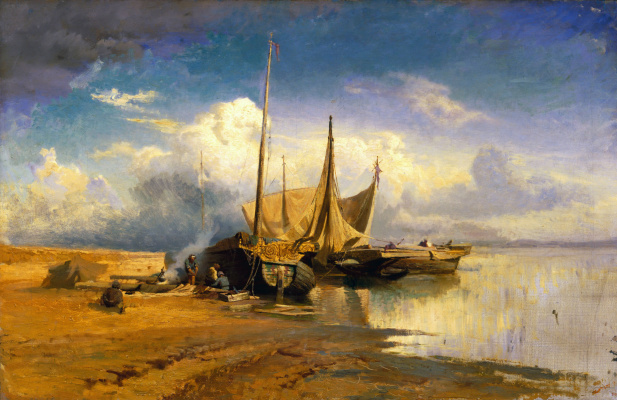 Fedor Alexandrovich Vasilyev. View on the Volga. Barca