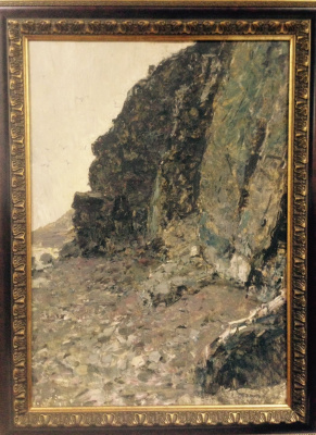 "Vyacheslav Andreevich Fedorov. ""An evening at Baikal. Rocky shore"", 1962. K./M., 50x70"