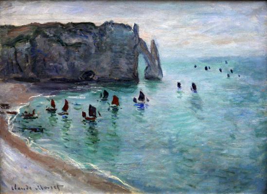 Claude Monet. Etretat, the Porte d Aval. Fishing boats leave the Harbor