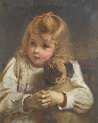 Charles Burton Barber. Concern. The girl with the pug