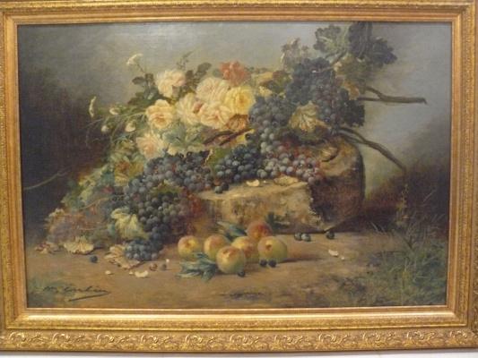 "Max Carlier (1872-1938 г.г.). ""Натюрморт с цветами и плодами"""