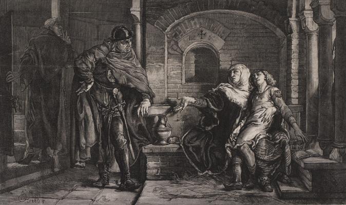 Jan Matejko. Gremislava with a young son Boleslaw in the dungeon of Konrad Mazowiecki