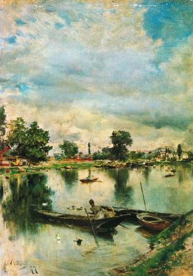 Giovanni Boldini. Boats on the Seine