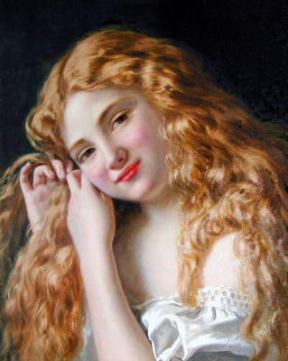 Sophie Jeanjambre Anderson. Girl collecting hair