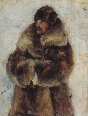 "Vasily Ivanovich Surikov. A. I. Surikov in a fur coat. Study for the painting ""the Capture of snow town"""