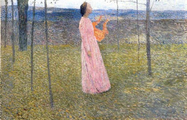 Henri Martin. The girl in pink