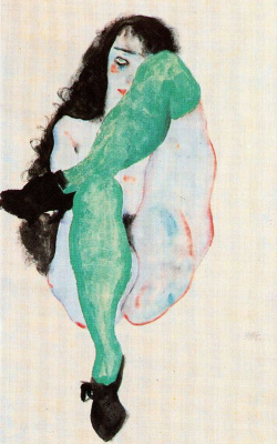 Egon Schiele. Nude in green stockings