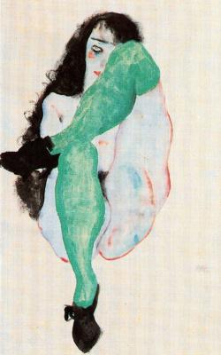 Egon Schiele. Nude in green stockings