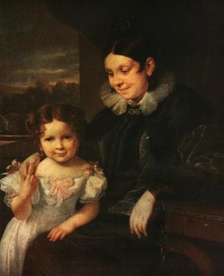 Vasily Andreevich Tropinin. Portrait of Varvara Ivanovna Yershova with her daughter Catherine