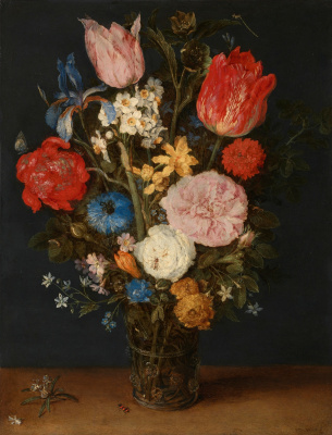 Jan Bruegel The Elder. Still life with flowers in a glass vase. 1608-1610