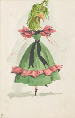 """Доротея Таннинг. Повелительница птиц. Дизайн костюма для балета """"Ночная тень"""""""