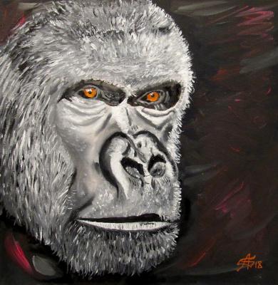 Арташес Владимирович Бадалян. Portrait of a gorilla - cardboard-m - 30x30