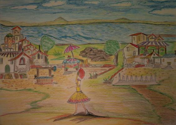 """Николай Николаевич Оларь. Sketch scenery and costume Kitri for ballet """"don Quixote"""""""