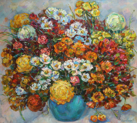 Oksana Viktorovna Zalevskaya. Bouquet of chrysanthemums