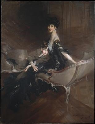 Джованни Больдини. Портрет Консуэло Вандербильт, герцогини Мальборо, с сыном Айвором Спенсер-Черчиллем. 1906