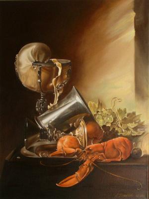 """Александра Демидова. Копия картины Виллем Хеда  """"Натюрморт с лобстером"""""""