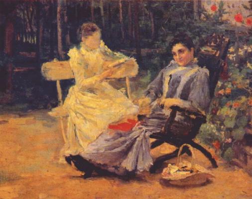 Leonid Osipovich Pasternak. Two women in the garden near Odessa