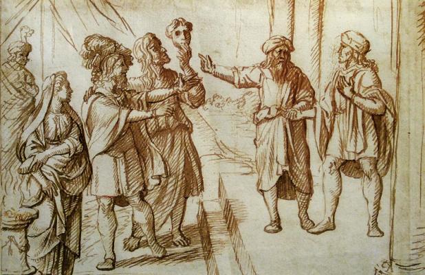 Jan Livens. Allegory of lies. Sketch