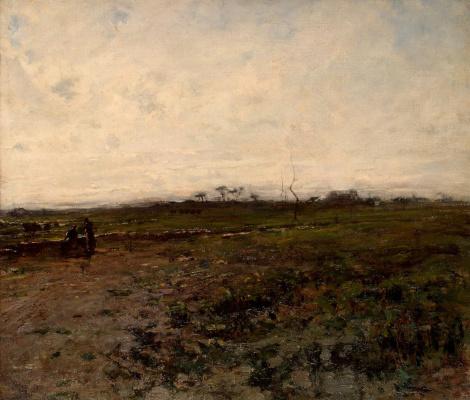 Jean-François Millet. Landscape with two peasant women