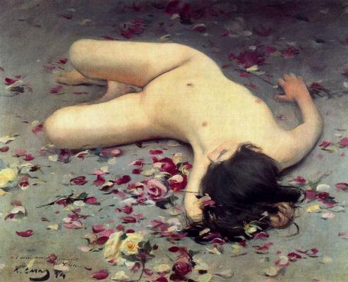Ramon Casas i Carbó. Nude woman among petals