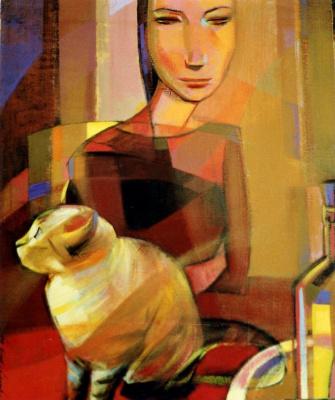 Моника Озамиз Фортис. Девушка с кошкой
