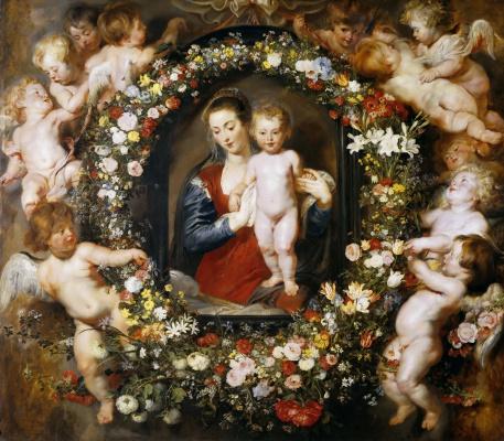 Питер Пауль Рубенс. Мадонна в цветочном венке