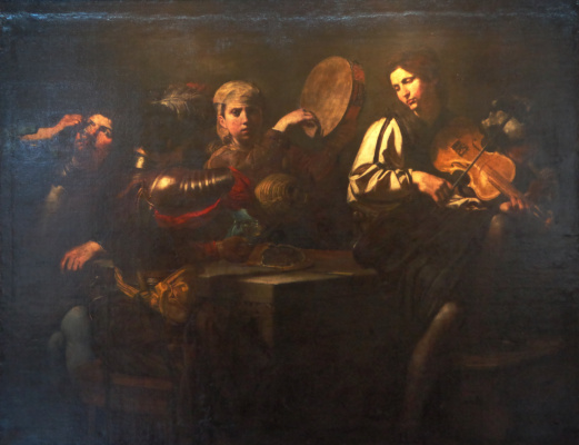 Valentin de Boulogne. The musicians and soldiers