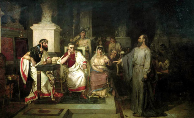 Vasily Ivanovich Surikov. The Apostle Paul explains the tenets of the faith in the presence of king Agrippa, his sister Berenice, and the proconsul Festa