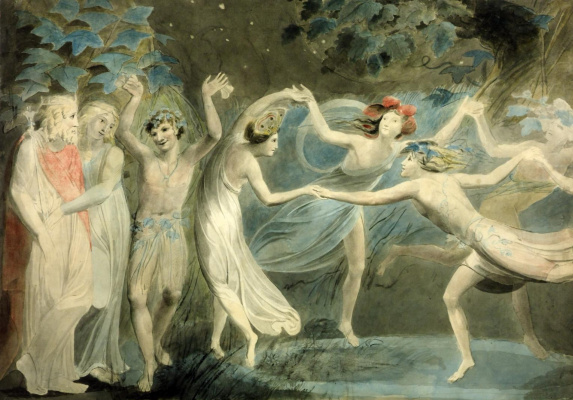 "William Blake. Oberon, Titania and puck with dancing fairies (Shakespeare, ""a Midsummer night's Dream"")"