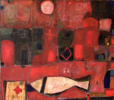 "Igor Vasilyevich Kislitsyn. ""Work in Red"",2004, oil on canvas, 140 x 160 from the series RED LAND"