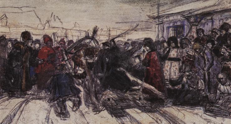 Vasily Ivanovich Surikov. Boyarynya Morozova. Sketch