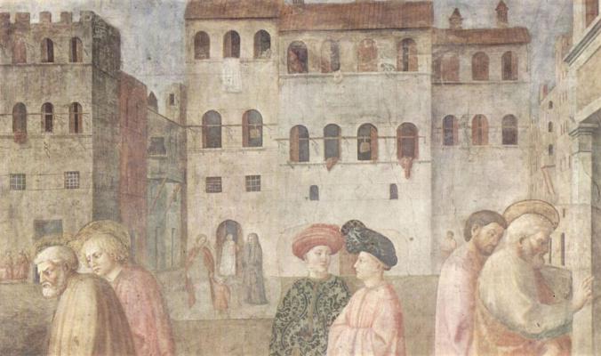 Цикл фресок капеллы Бранкаччи в церкви Санта Мария дель Кармине во Флоренции, сцены из Жизни Петра, сцена: Исцеление хромого.