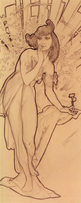 Alfons Mucha. Carnation. Sketch